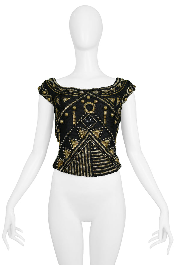 VERSACE BLACK & GOLD BEADED TOP 1990