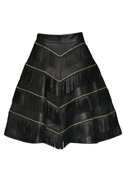 VERSACE BLACK LEATHER FRINGE AND GOLD STUD SKIRT 1992