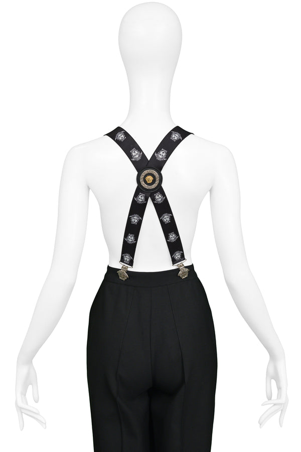 VERSACE BLACK MEDUSA BRACES SUSPENDERS