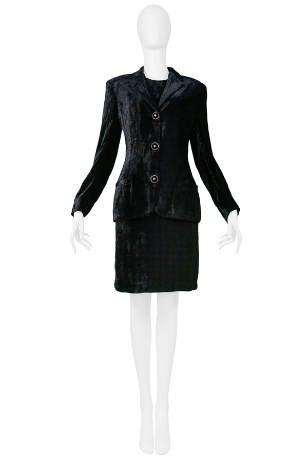 VERSACE BLACK VELVET DRESS & BLAZER ENSEMBLE