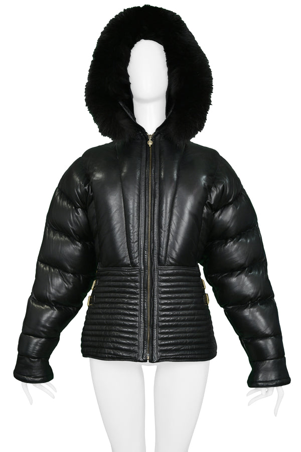 VERSACE BLACK LEATHER APRES SKI PUFFER JACKET 1992