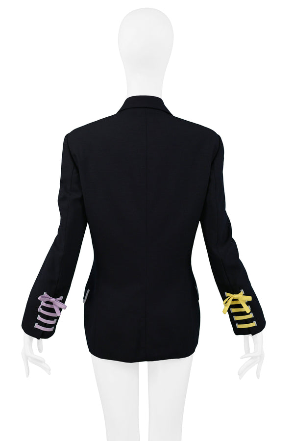 VERSACE COUTURE NAVY BLAZER WITH LACE UP RIBBON CUFFS 1992