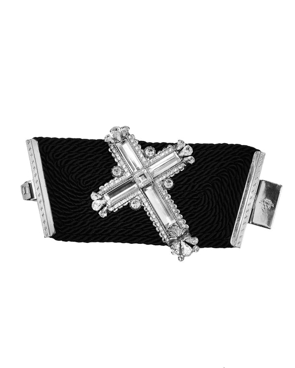 VERSACE GIANT MIRROR & CRYSTAL CROSS CUFF