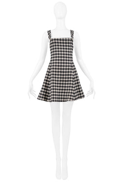 VERSUS BLACK & WHITE CHECK OVERALL DRESS