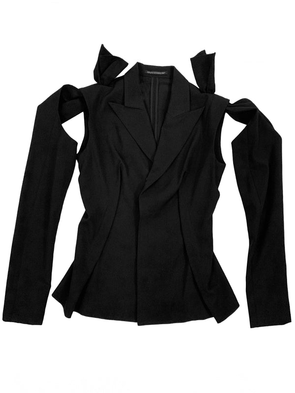 YOHJI BLACK DETACHABLE SLEEVE JACKET