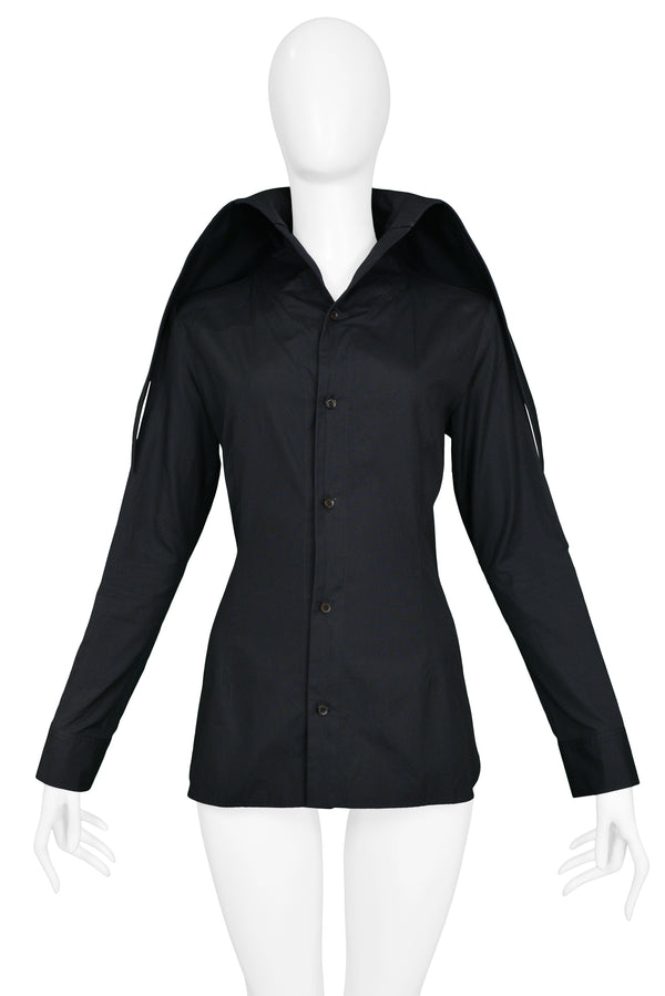 YOHJI BLACK BUTTON DOWN SHIRT WITH OVERSIZED COLLAR