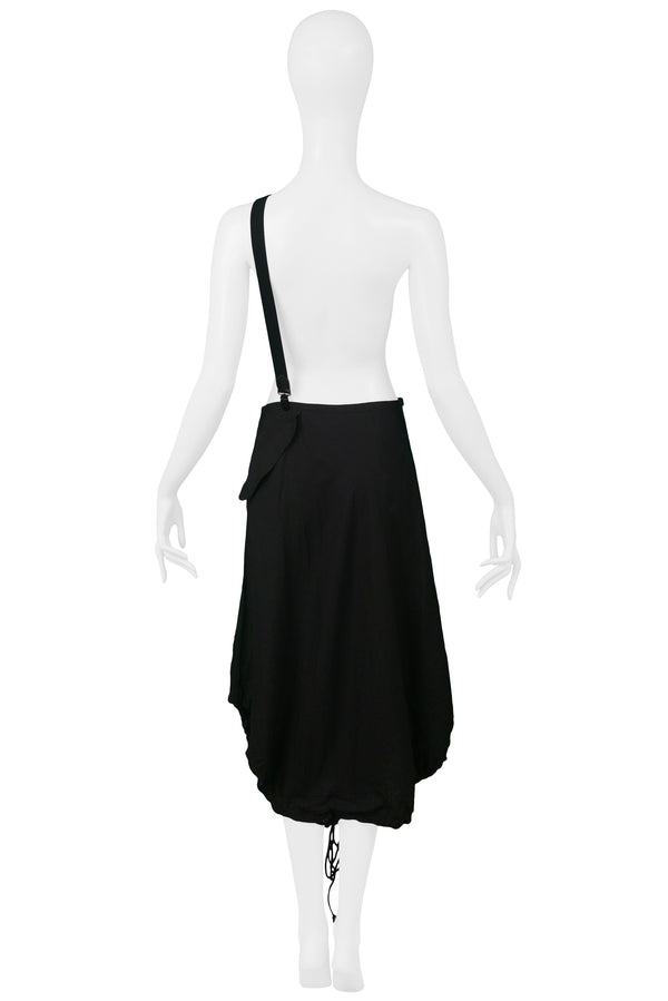 YOHJI BLACK DRAWSTRING SKIRT WITH SUSPENDERS