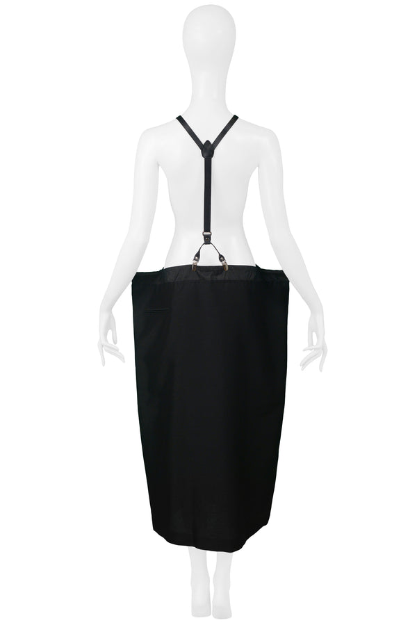 YOHJI BLACK OVERSIZED SKIRT WITH SUSPENDERS