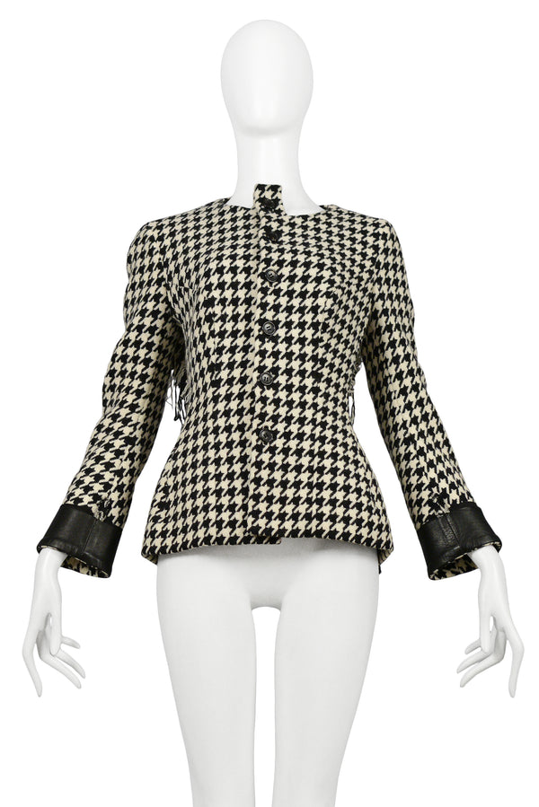 YOHJI BLACK & WHITE WOOL HOUNDSTOOTH CHECK JACKET 2003