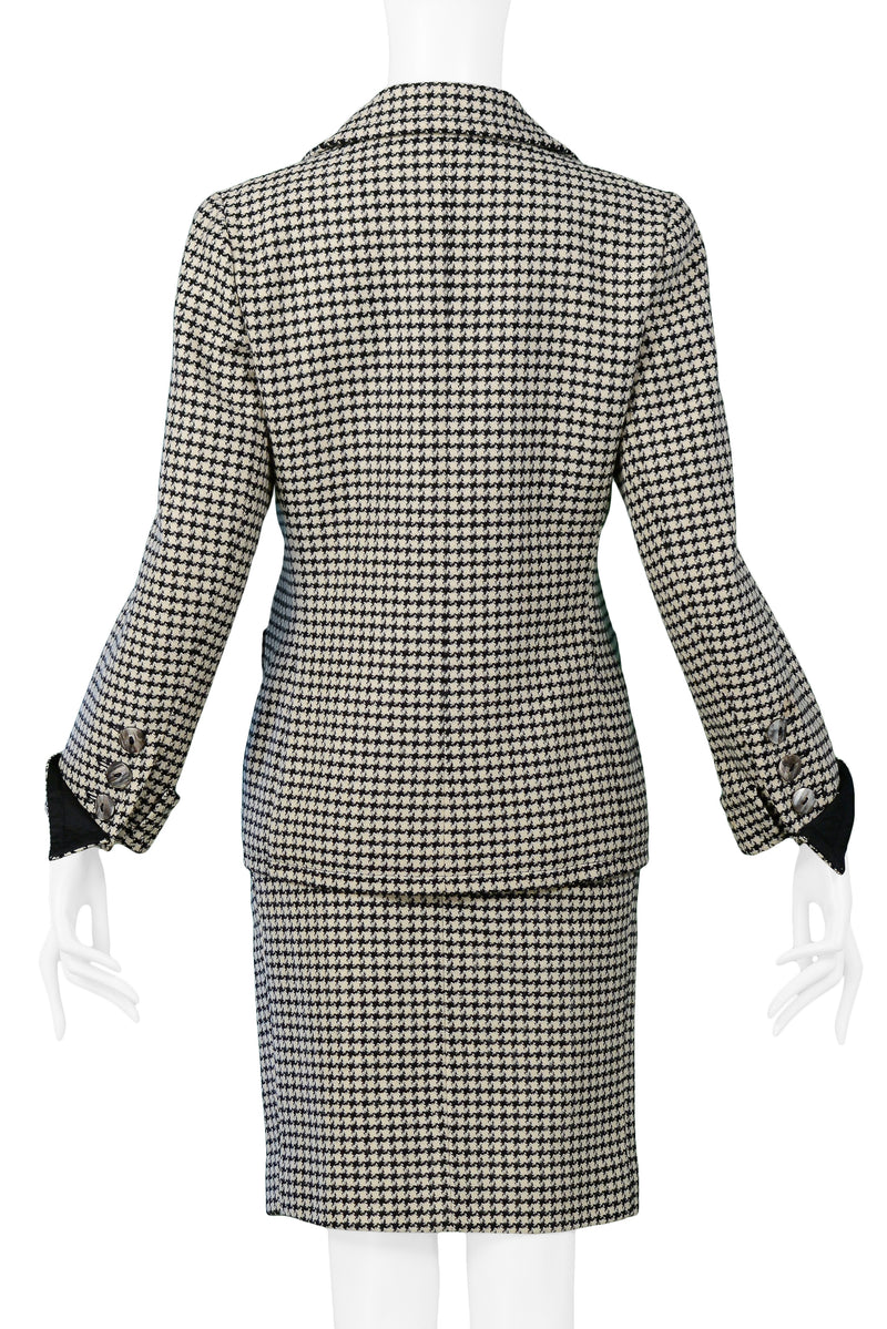 YSL BLACK & WHITE CHECK WOOL SKIRT SUIT