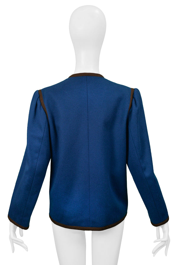YSL BLUE WOOL CROPPED JACKET WITH BROWN TRIM