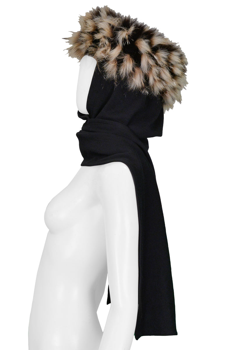 YSL FUR TRIM KNIT SCARF HAT