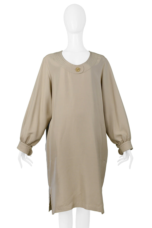 YSL KHAKI SACK DRESS WITH GOLD BUTTONS
