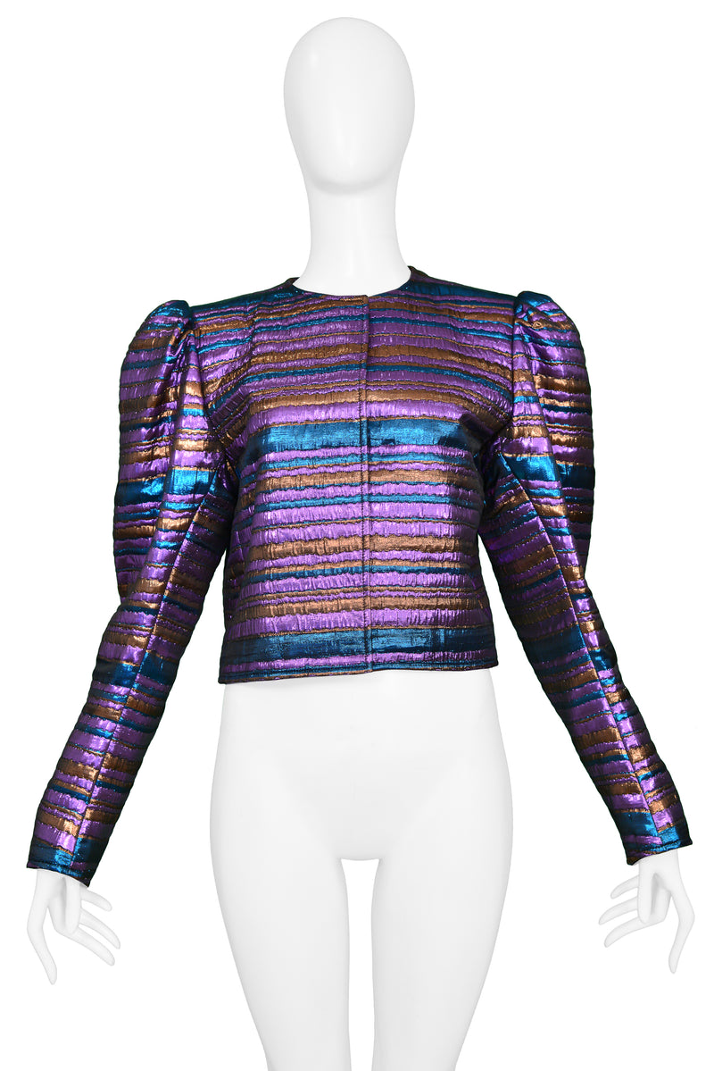 YSL 1982 PURPLE AND BLUE METALLIC STRIPE JACKET