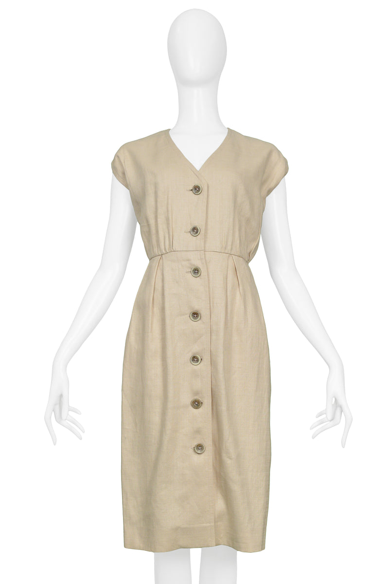 YSL KHAKI LINEN DAY DRESS