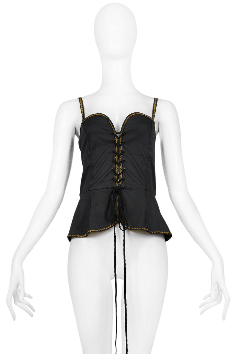 YSL BLACK COTTON CORSET TOP