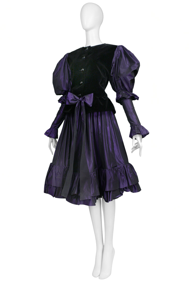 YSL BLACK VELVET & PURPLE TAFFETA ENSEMBLE 1982