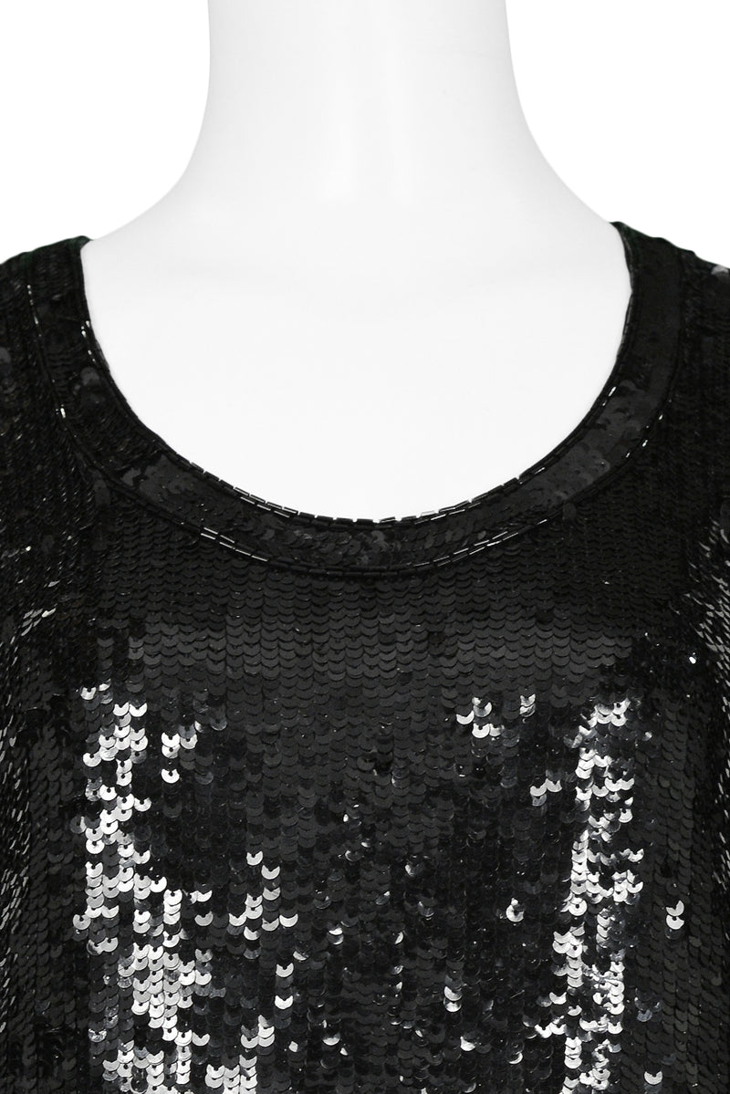 YSL BLACK SEQUIN & BUGLE BEAD TANK TOP