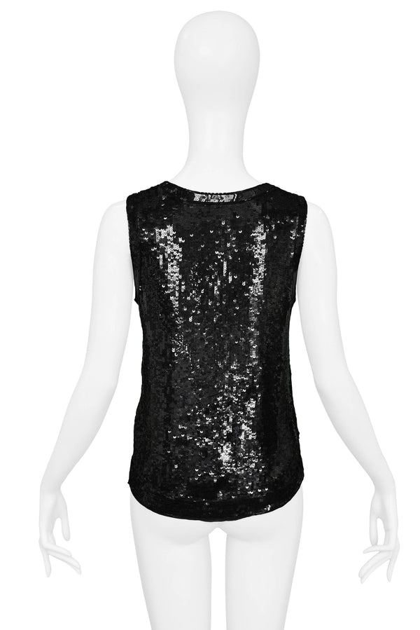 YSL BLACK SEQUIN TANK