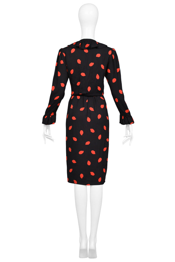 YSL BLACK & RED PRINT SILK DAY DRESS