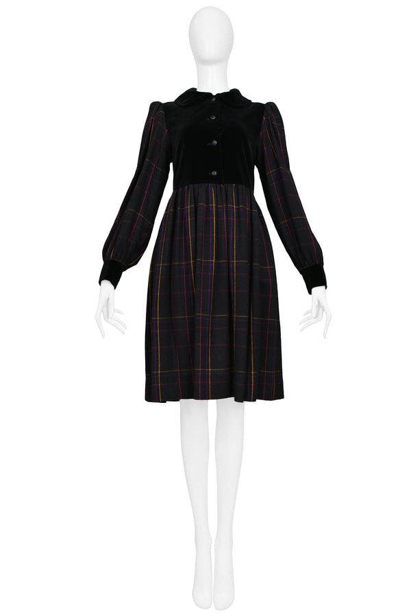 YSL BLACK PLAID & VELVET PEASANT SMOCK DRESS