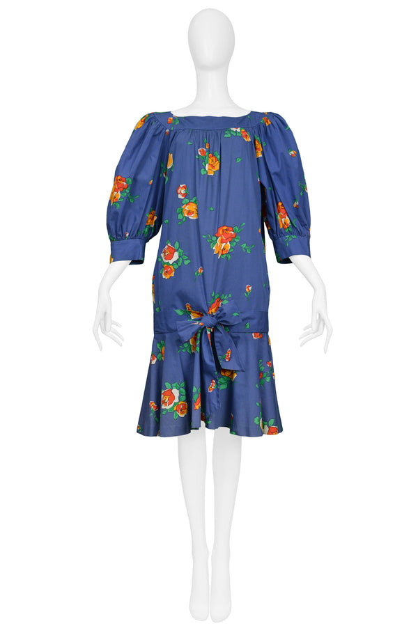 YSL BLUE FLORAL DROP DRESS