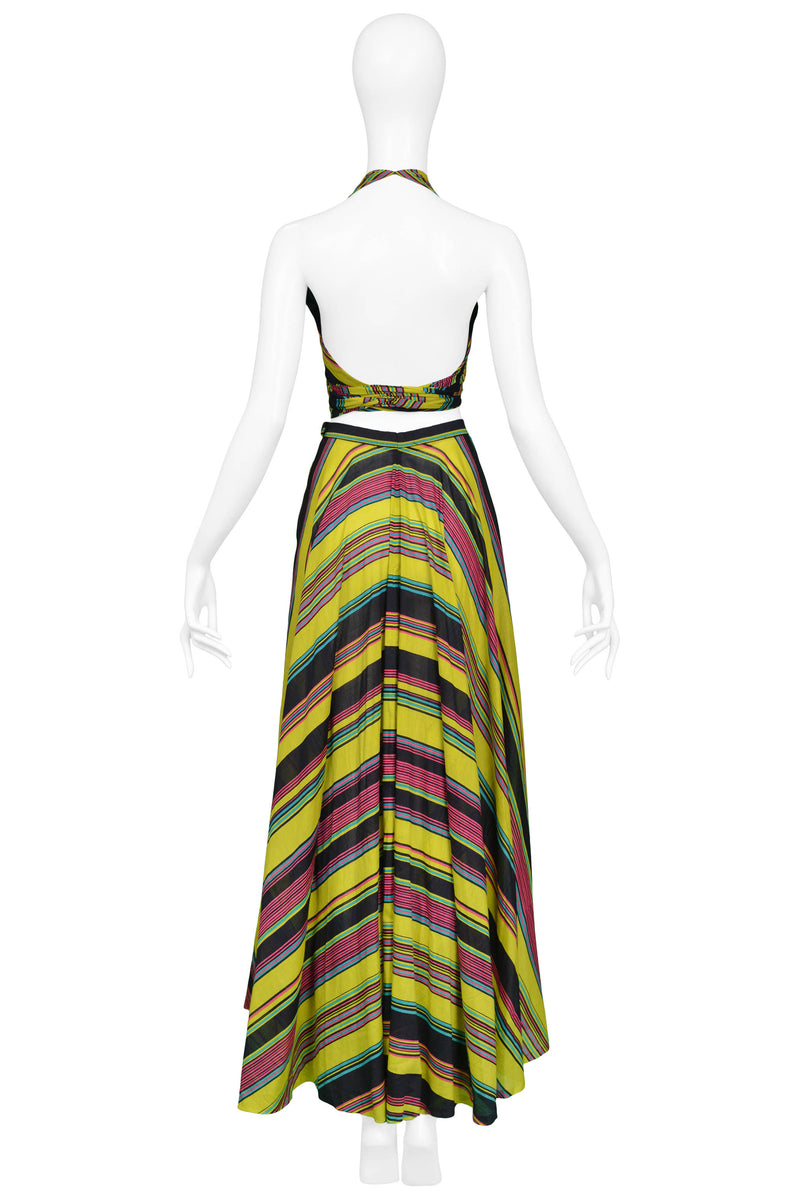 YSL 1970S CHARTREUSE STRIPE WRAP ENSEMBLE