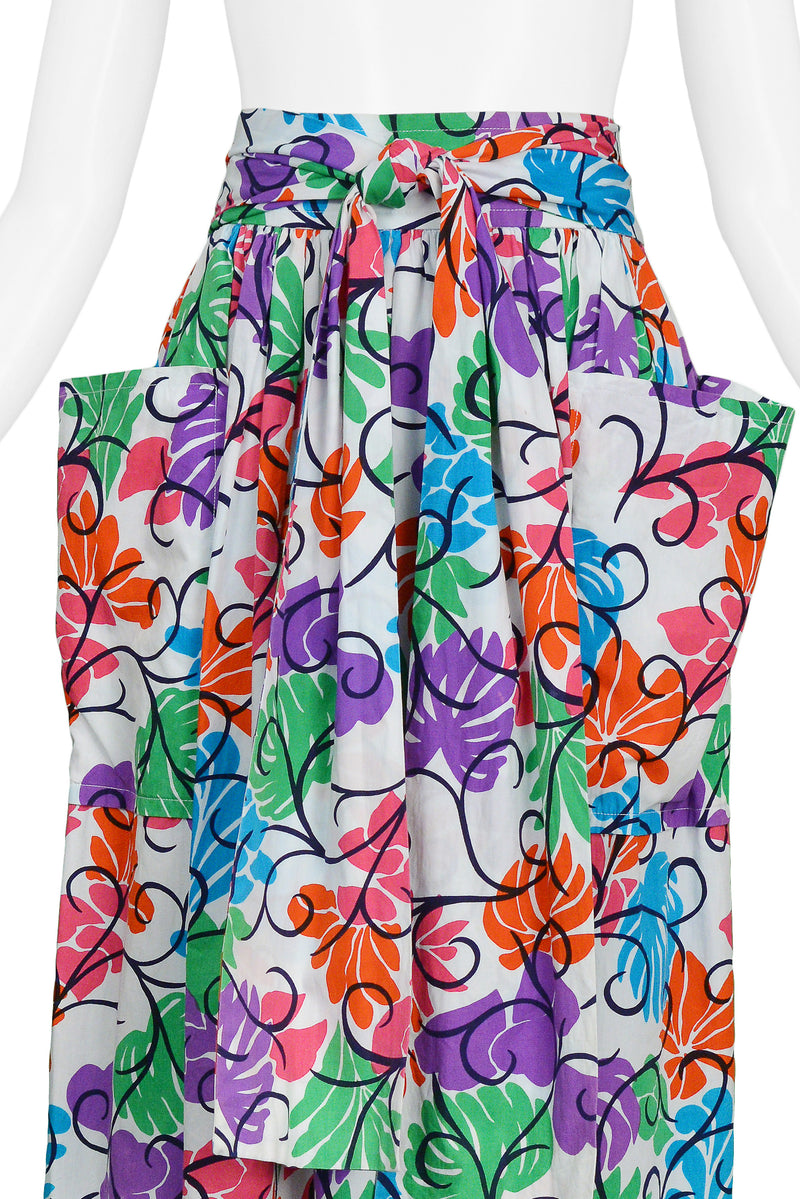 YSL MULTICOLOR FLORAL PRINT COTTON SKIRT