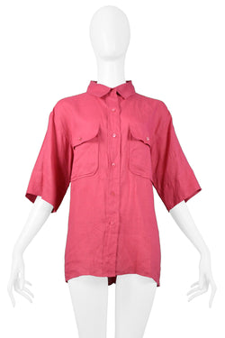 YSL PINK LINEN SAFARI SHIRT