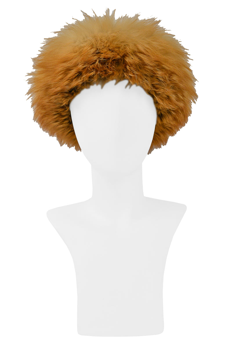 YSL RED FOX FUR & BROWN VELVET HAT