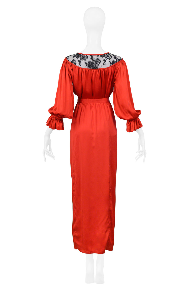 YSL RED SATIN & BLACK LACE ENSEMBLE