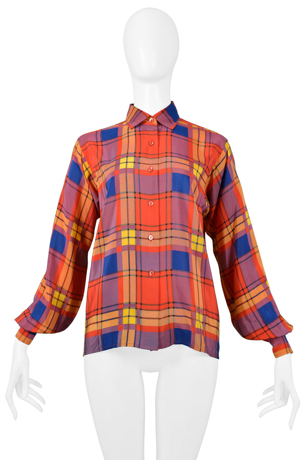 YSL MULTICOLOR PLAID SILK BLOUSE