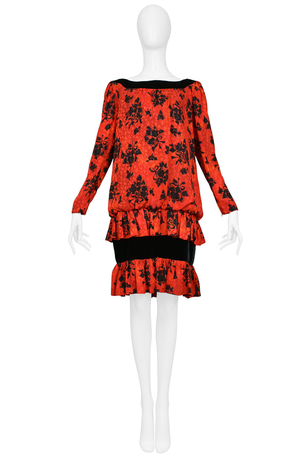 YSL RED & BLACK FLORAL PRINT DROP DRESS