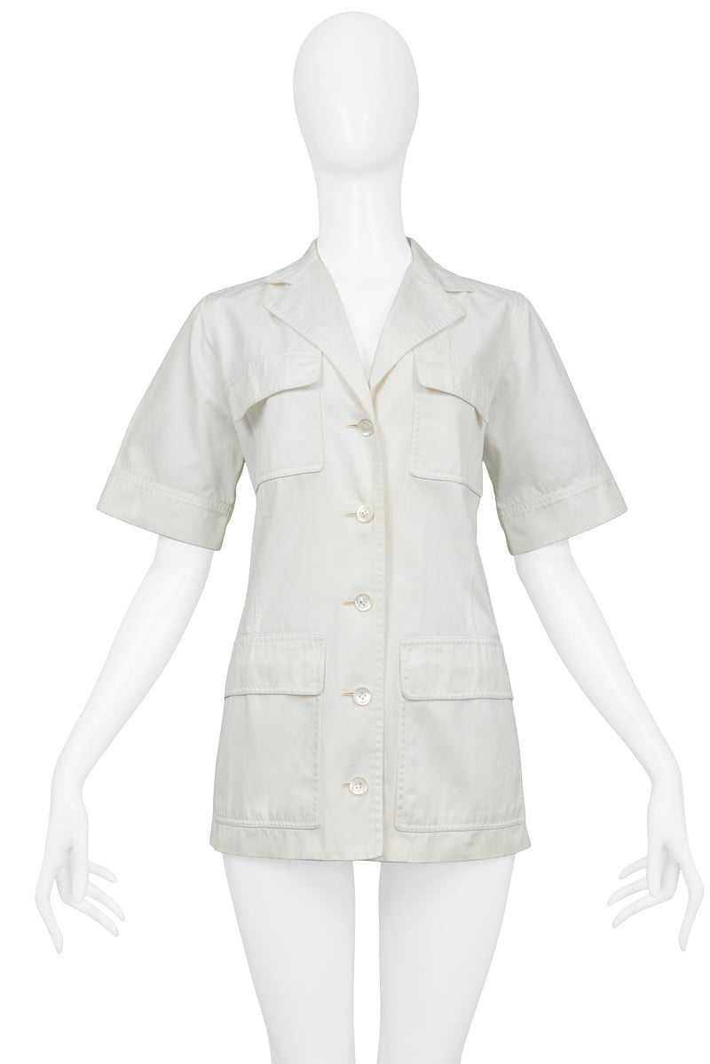 YSL WHITE COTTON SAFARI JACKET