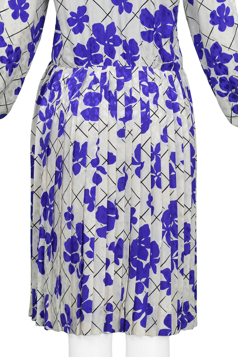 YSL WHITE & PURPLE FLORAL SILK DAY DRESS