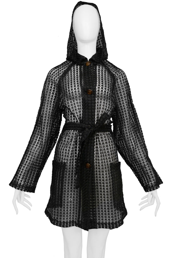 VERSACE BLACK RAFFIA TRENCH JACKET WITH MEDUSA BUTTONS