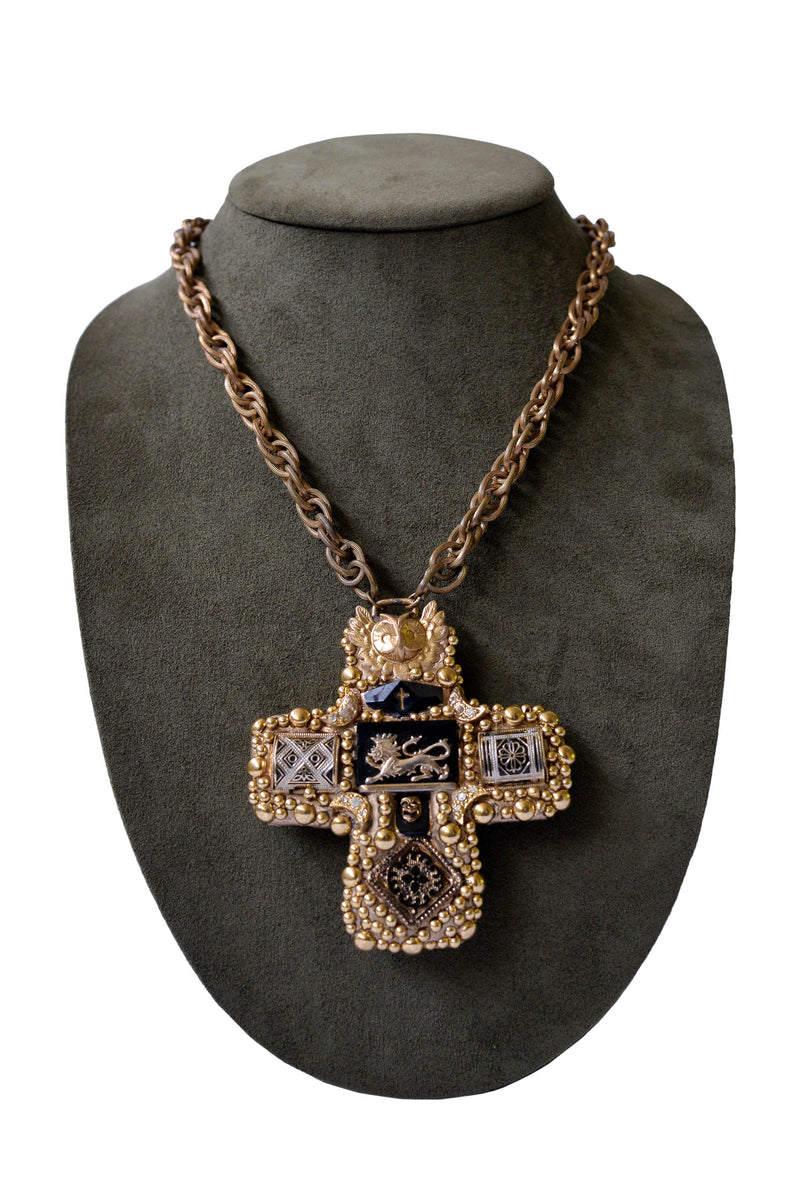 MINADEO LION & OWL CROSS NECKLACE