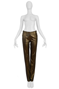 FERRE BRONZE LEATHER PANTS 1997