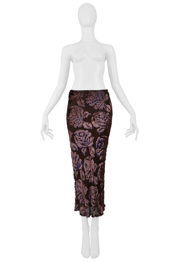 GALLIANO BROWN CUT VELVET BIAS SKIRT