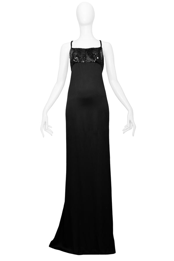 GUCCI BY TOM FORD BLACK SATIN & SEQUIN GOWN 1999