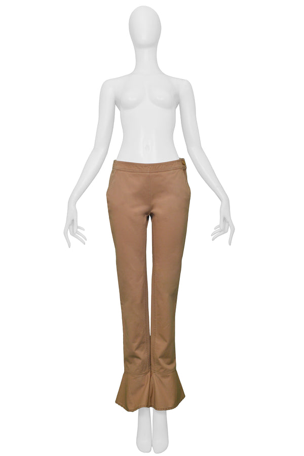 CHANEL KHAKI FLARED COTTON PANTS