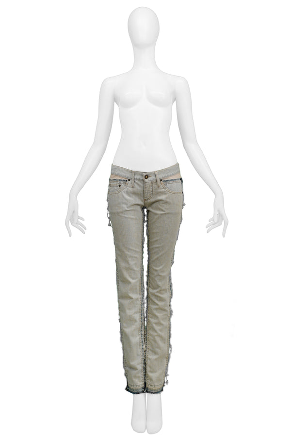 MCQUEEN DENIM JEANS WITH SHEER PANELS 2004