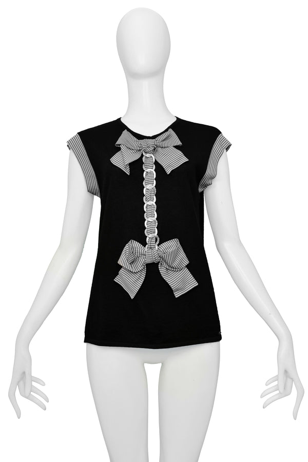 CHANEL BLACK & WHITE STRIPE BOW TOP 2007