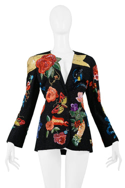 KRIZIA HEAVILY BEADED AND EMBROIDERED JACKET 1991