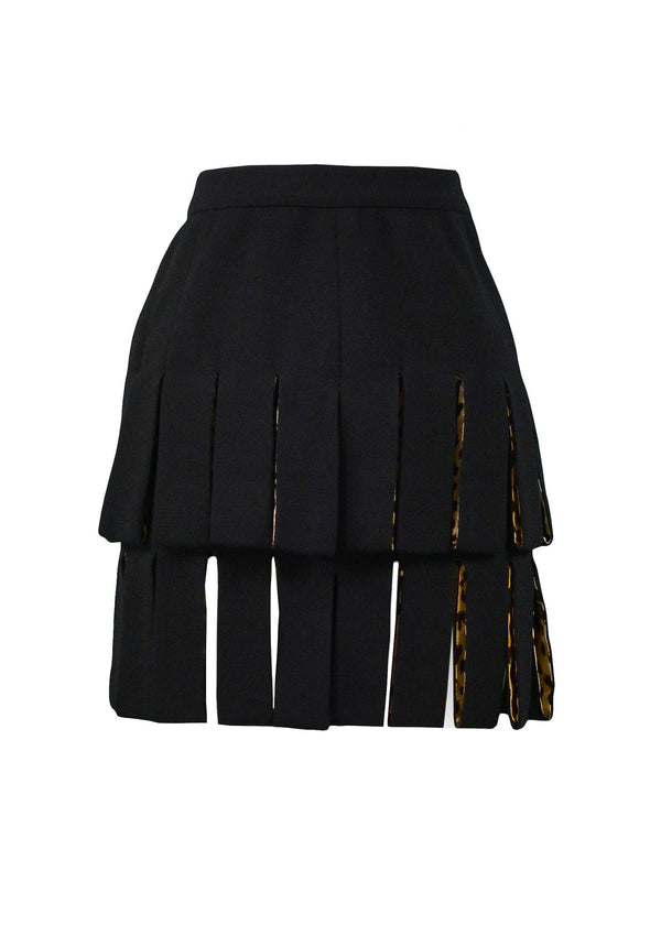 VERSACE BLACK CARWASH SKIRT WITH LEOPARD LINING