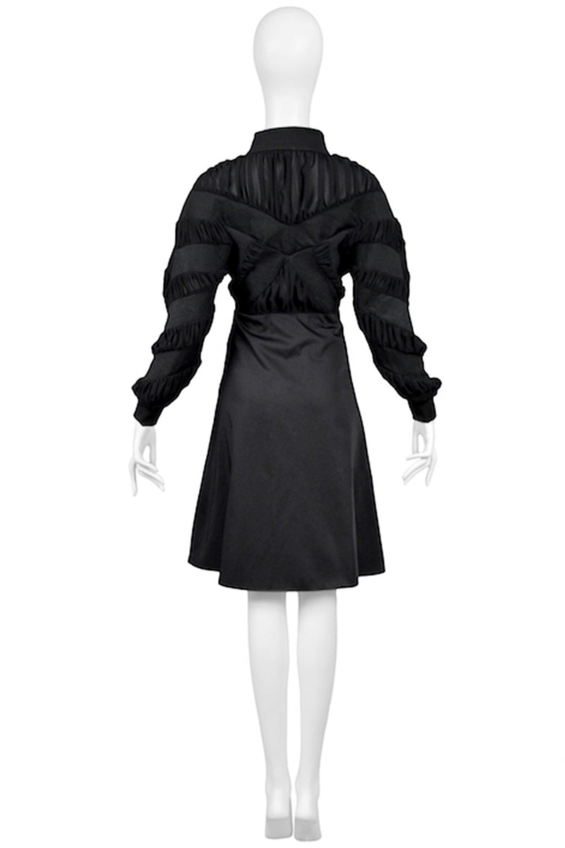 BALENCIAGA BY GHESQUIERE BLACK PEPLUM COAT DRESS