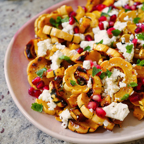 Maple Roasted Squash with Pomegranate and Pistachios