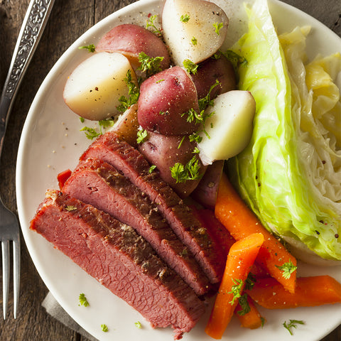 corned beef and crispy cabbage dish