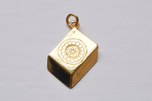 solid gold mah jong tile charm by sisterfriend jewelry