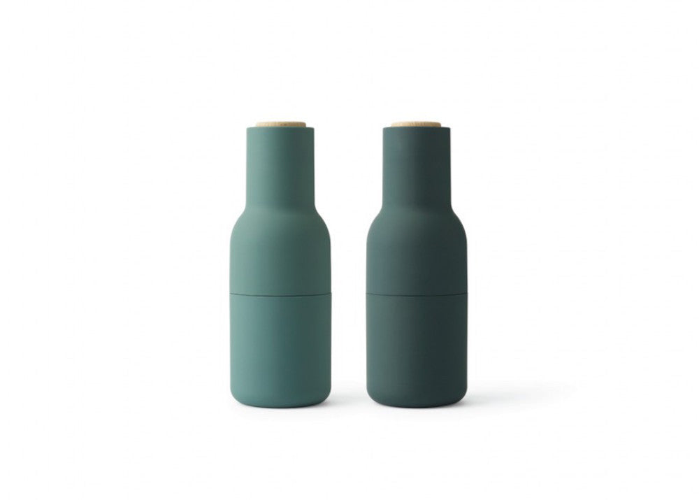Menu Bottle Grinders - Dark Green - Oak Top